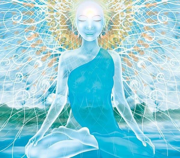 art meditating blue figure